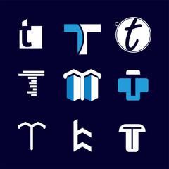 Alphabet letters set T Logo element. T letter collection.