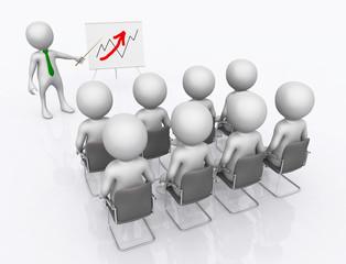 Geschäftspräsentation mit 3D Figuren