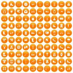 100 shoe icons set in orange circle isolated on white vector illustration
