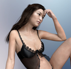 Attractive Asian woman in lingerie