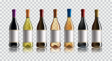 Red wine bottle. Set of white, rose, and red wine bottles. isolated on white background.