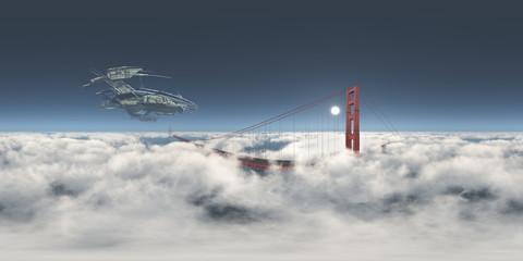 360 Grad Panorama mit einem riesigen Raumschiff über der Golden Gate Bridge