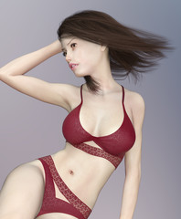 Fashionable beautiful woman in lingerie with blowing hair