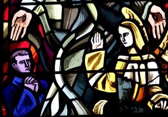vitrail dans l'église de Gatteville le phare en Normandie dans la Manche, Cotentin