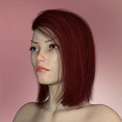 Portrait of a beautiful woman with red hair