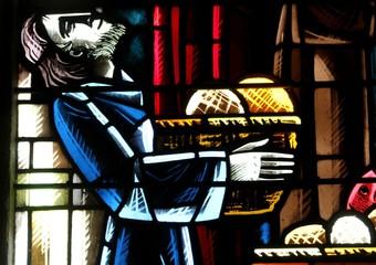 vitrail dans l'église de Gatteville le phare en Normandie dans le Cotentin