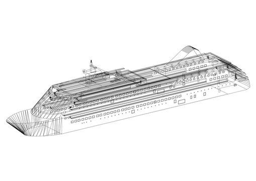 cruise ship Concept Architect Blueprint - isolated