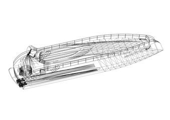 Yacht Architect Blueprint - isolated