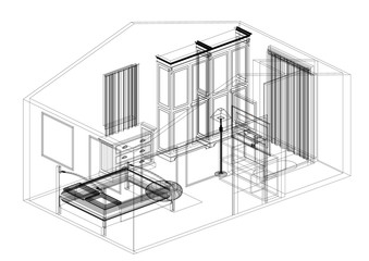 Bedroom Design Architect Blueprint - isolated
