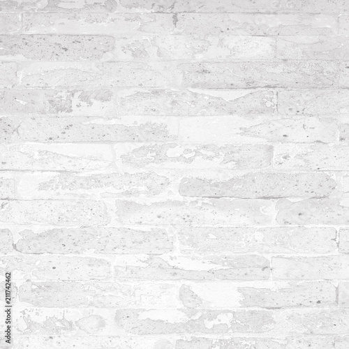 Abstract White Brick Wall Texture Pattern Background With