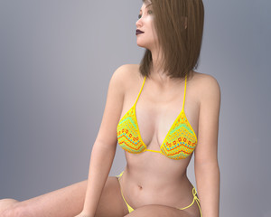 Young Asian woman in bikini in a casual pose