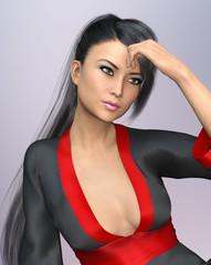 Sensual Asian woman with ponytail hairstyle in kimono