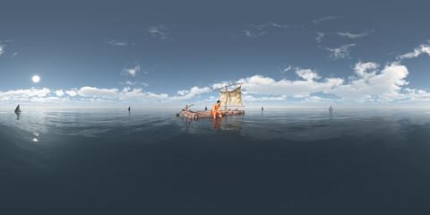 360 Grad Panorama mit einem Schiffbrüchigen auf einem Floß umgeben von Haifischen