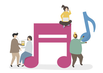 Illustration of characters and music notes