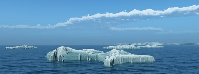 Eisberge im offenen Meer