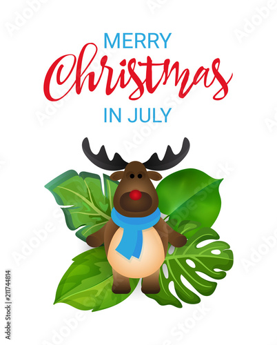 Christmas In July Clipart Free.Merry Christmas In July Greeting Banner With Cartoon