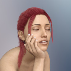 Young woman with red hair and closed eyes in casual pose
