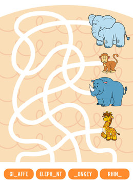 Maze game for children. Giraffe, Elephant, Monkey and Rhino
