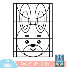 Color by dots, game for children, Rabbit