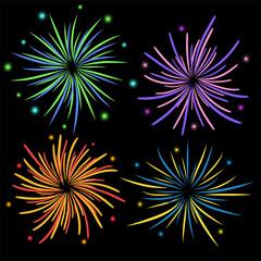 Set of fireworks on black background, stock vector illustration