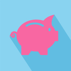 Vector business flat piggy bank icon with long shadow on blue background