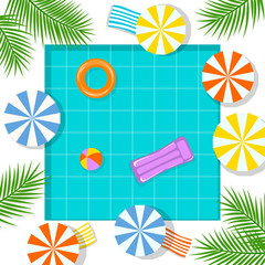 summer time beach vacation swimming pool background , top view from above