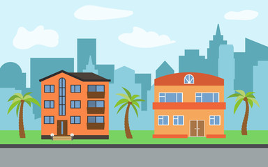 Vector city with three-story and two-story cartoon houses and palm trees in the sunny day. Summer urban landscape. Street view with cityscape on a background