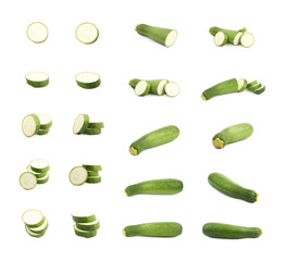 Set of green zucchini compositions