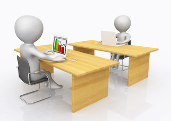 Zwei Büroarbeitsplätze mit 3D Figuren