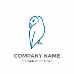 Owl Education Vision Natural Elegance Luxury Children Line Bird Cute Animal School Nature Logo Design Vector Icon Template