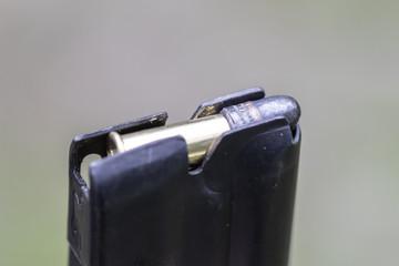 .22 caliber ammo in a clip close up