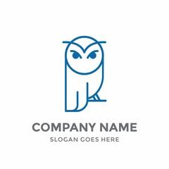 Owl Education Line Bird Cute Elegance Luxury Animal School Nature Logo Design Vector Icon Template