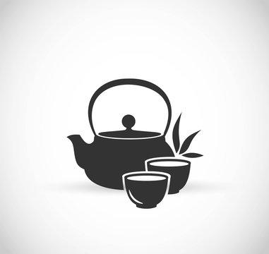 Japanese tea pot icon vector
