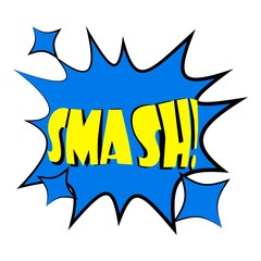 Smash, explosion speech bubble icon. Cartoon illustration of smash speech bubble vector icon for web design