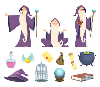 Set of magician tools and male wizard character. Vector pictures isolated on white background