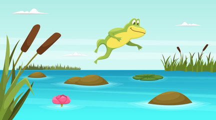 Frog jumping in pond. Vector cartoon background