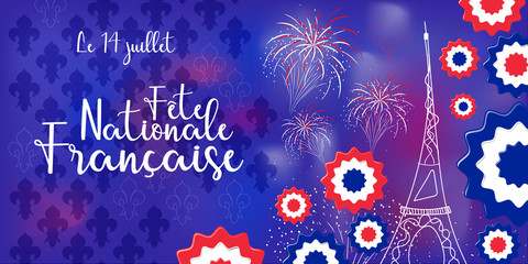 concept of banner for Bastille day in France