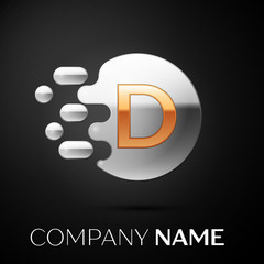 Gold Letter D logo. Silver dots splash and abstract liquid bubble shape on black background. Vector template for your design