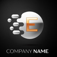 Gold Letter E logo. Silver dots splash and abstract liquid bubble shape on black background. Vector template for your design