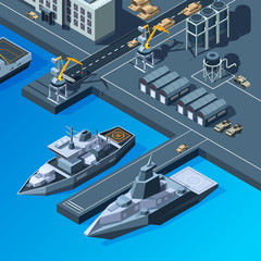 Warships on the pier. American navy isometric pictures set