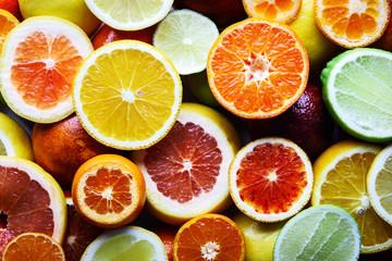 Mix of different citrus fruits closeup. Healthy diet vitamin concept. Food photography Fototapete