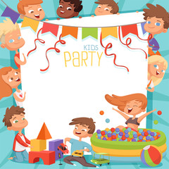 Design template of kids party invitation