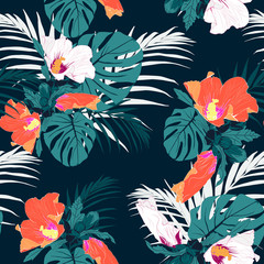 Vector seamless tropical pattern, vivid tropic foliage, with palm monstera leaves, tropical white and orange hibiscus flower in bloom. Vintage darck background.