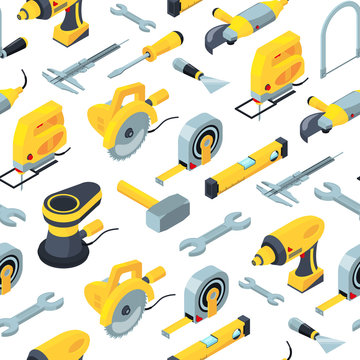 Vector construction tools isometric icons background or pattern illustration