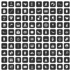 100 joy icons set in black color isolated vector illustration