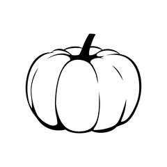 Icono plano dibujo calabaza en color negro