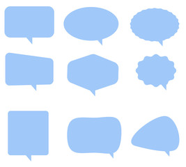 speech bubble icon on white background. flat style. Blank empty blue speech bubbles. speech bubble sign. blue bubble speech for your web site design, logo, app, UI. video call sign.