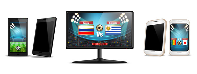 Tv screen and smartphone with football match Vector realistic. Sports betting online. Gadgets isolated on whites