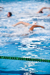 Unfocused image of a water polo match