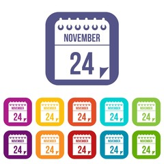 24 november calendar icons set vector illustration in flat style in colors red, blue, green, and other
